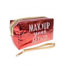 На фото 1 - Женский пенал-косметичка с принтом, цвет красный