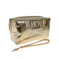 На фото 1 - Женский пенал-косметичка с принтом, цвет золотистый