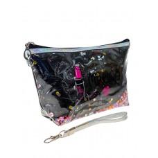 На фото 1 - Пенал-косметичка из ПВХ с принтом и пайетками, цвет чёрный