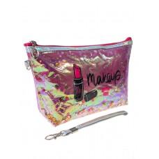 На фото 1 - Пенал-косметичка из ПВХ с принтом и пайетками, цвет розовый