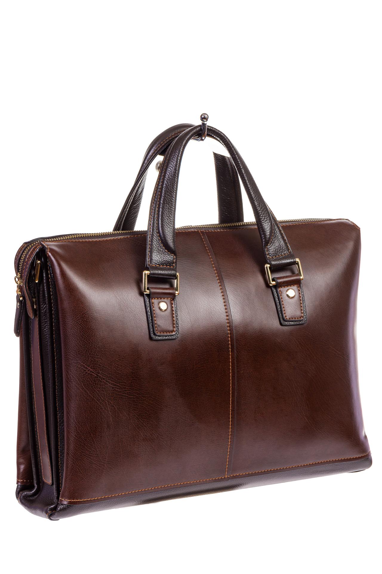 На фото 1 - Мужской кожаный портфель, цвет коричневый