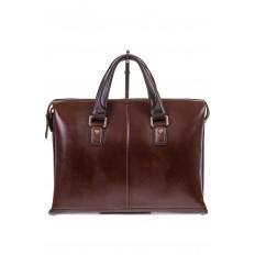 На фото 2 - Мужской кожаный портфель, цвет коричневый