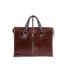 На фото 3 - Мужской кожаный портфель, цвет коричневый