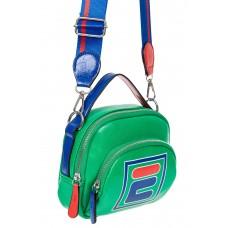 На фото 1 - Летняя сумка-малышка из искусственной кожи с принтом, цвет зелёный