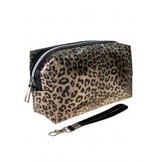 На фото 1 - Пенал-косметичка из ПВХ с леопардовым принтом, цвет бронзовый
