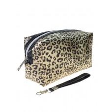 На фото 1 - Пенал-косметичка из ПВХ с леопардовым принтом, цвет золотистый