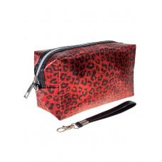 На фото 1 - Пенал-косметичка из ПВХ с леопардовым принтом, цвет красный