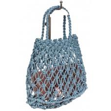 На фото 1 - Женская плетеная сумка-авоська из эко-кожи, цвет голубой