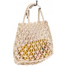 На фото 1 - Женская плетеная сумка-авоська из эко-кожи, цвет бежево-молочный