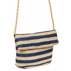 На фото 1 - Женская сумка конверт из соломы, цвет синий в полоску