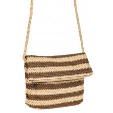 На фото 1 - Женская сумка конверт из соломы, цвет песочный в полоску
