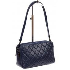 На фото 1 - Женская стёганая сумка из кожи, цвет синий