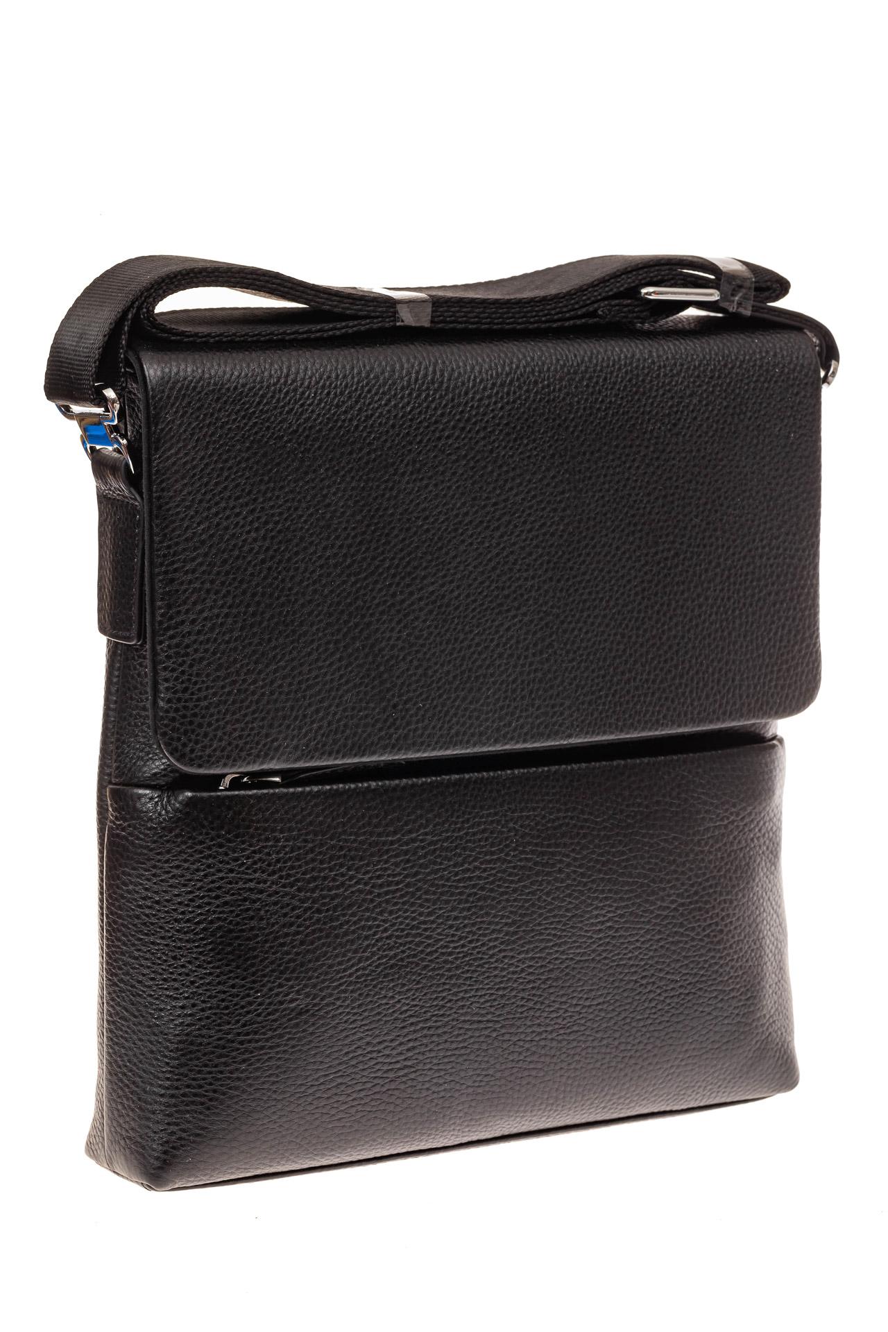 На фото 1 - Мужская сумка из фактурной натуральной кожи, цвет черный