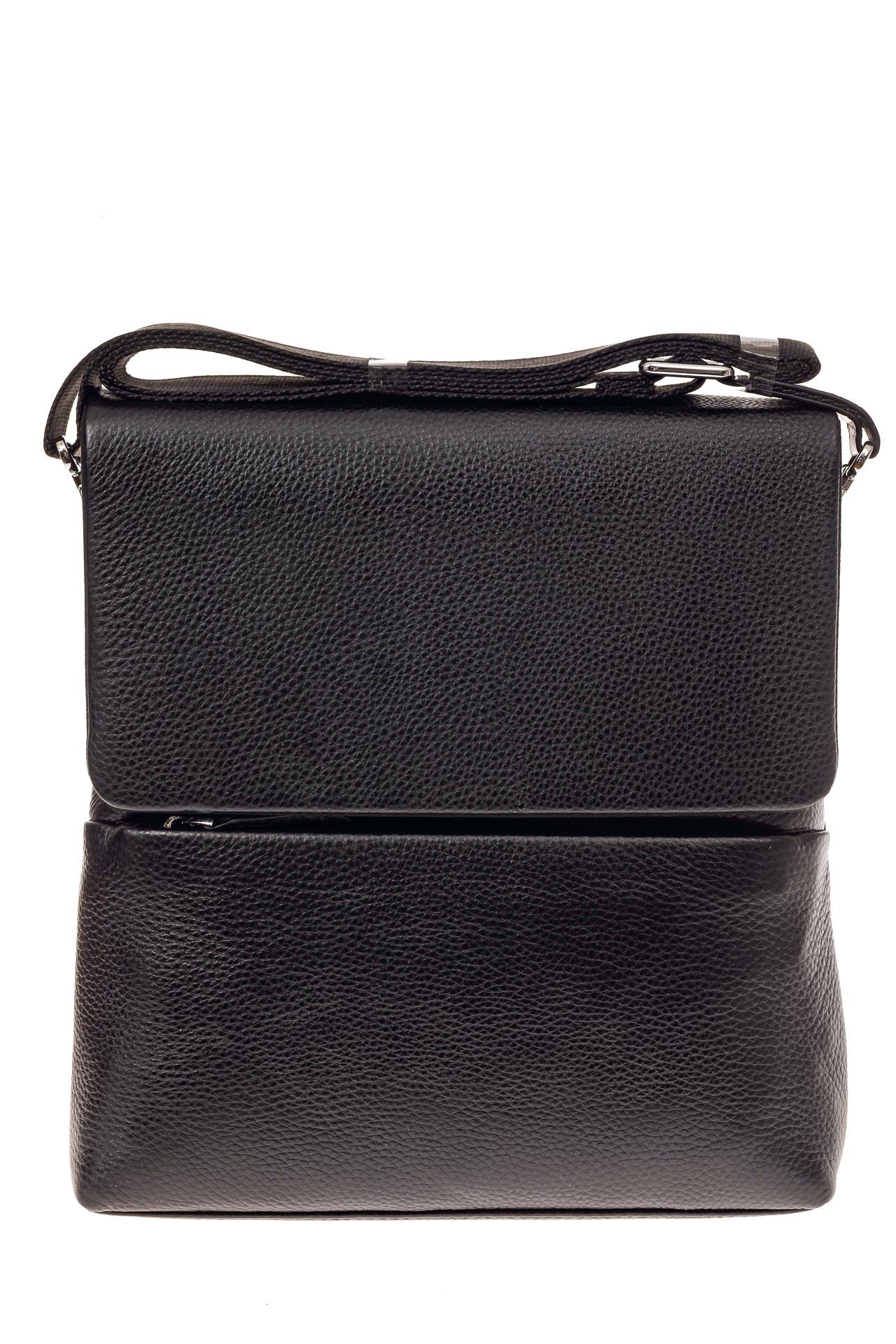 На фото 2 - Мужская сумка из фактурной натуральной кожи, цвет черный