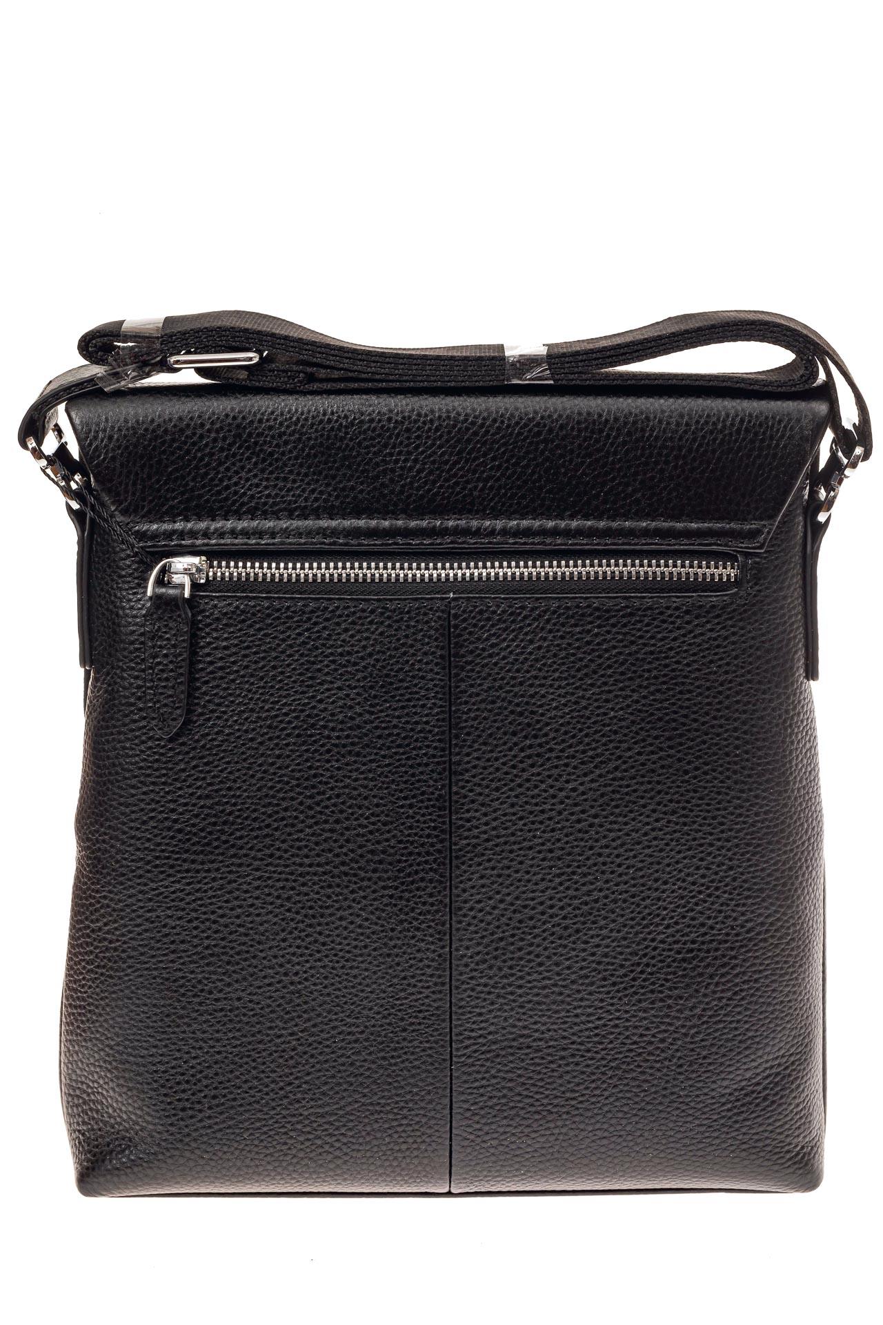 На фото 3 - Мужская сумка из фактурной натуральной кожи, цвет черный