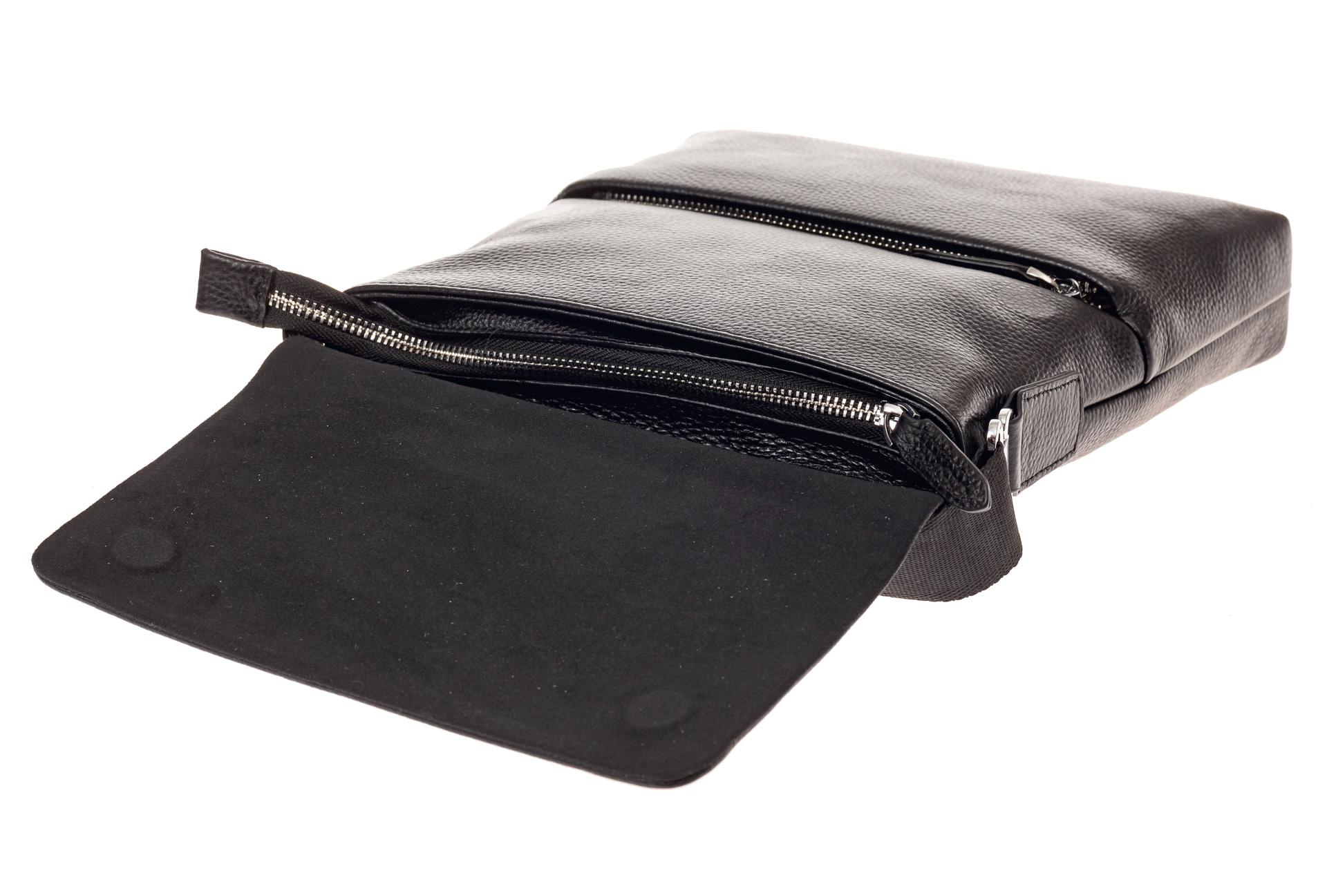 На фото 4 - Мужская сумка из фактурной натуральной кожи, цвет черный