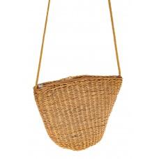 На фото 1 - Женская сумка-ведерко из соломы, цвет крафт