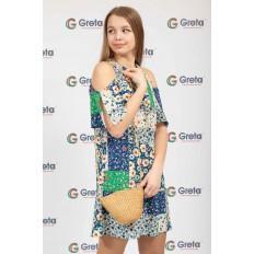 На фото 4 - Женская сумка-ведерко из соломы, цвет крафт