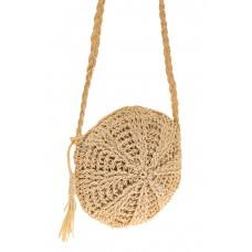На фото 1 - Круглая плетеная женская сумка из джута, цв...