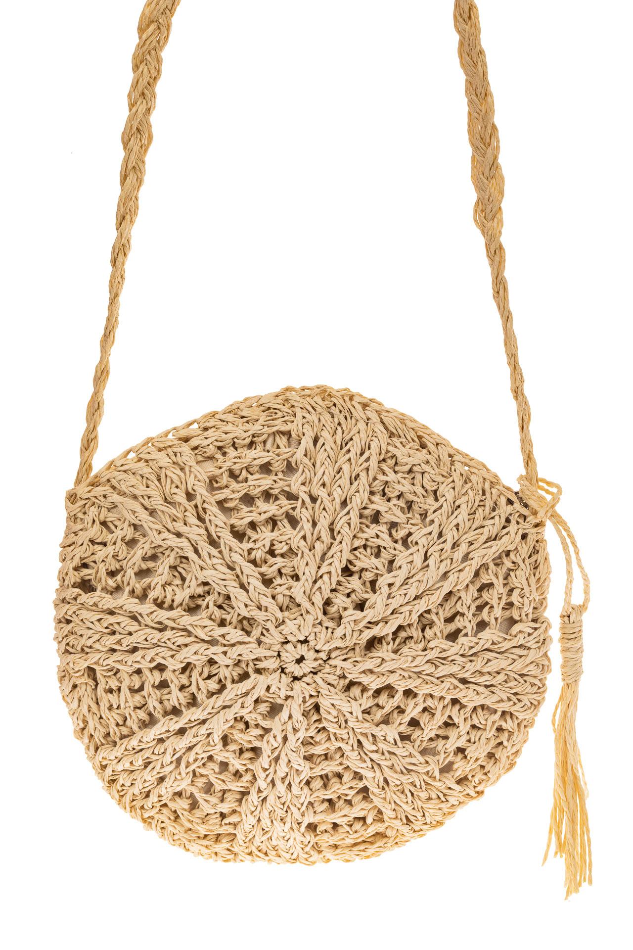 На фото 2 - Круглая плетеная женская сумка из джута, цвет светло-бежевый