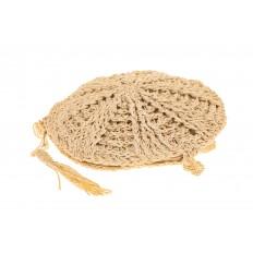 На фото 3 - Круглая плетеная женская сумка из джута, цвет светло-бежевый