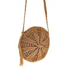 На фото 1 - Круглая сумка на молнии, материал джут, цве...