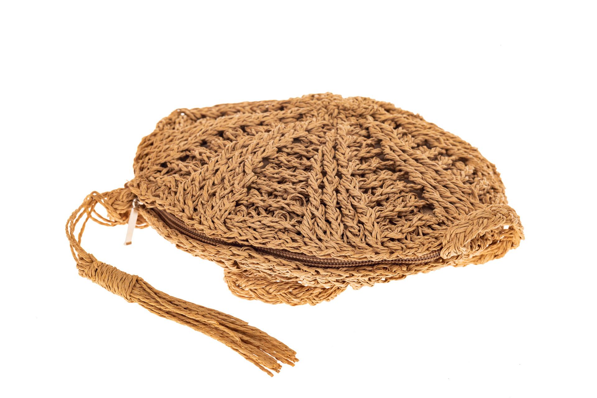 На фото 3 - Круглая сумка на молнии, материал джут, цвет крафт