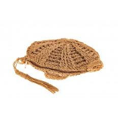 На фото 3 - Круглая плетеная женская сумка из джута, цвет крафт