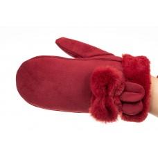 На фото 1 - Красивые варежки женские, цвет красный