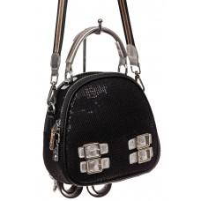 На фото 1 - Рюкзак с пайетками, черный с серебром