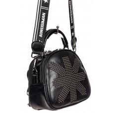 На фото 1 - Молодёжная сумка-рюкзак из искусственной кожи, цвет чёрный