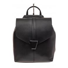 На фото 2 - Женский рюкзак трансформер из натуральной кожи, цвет черный