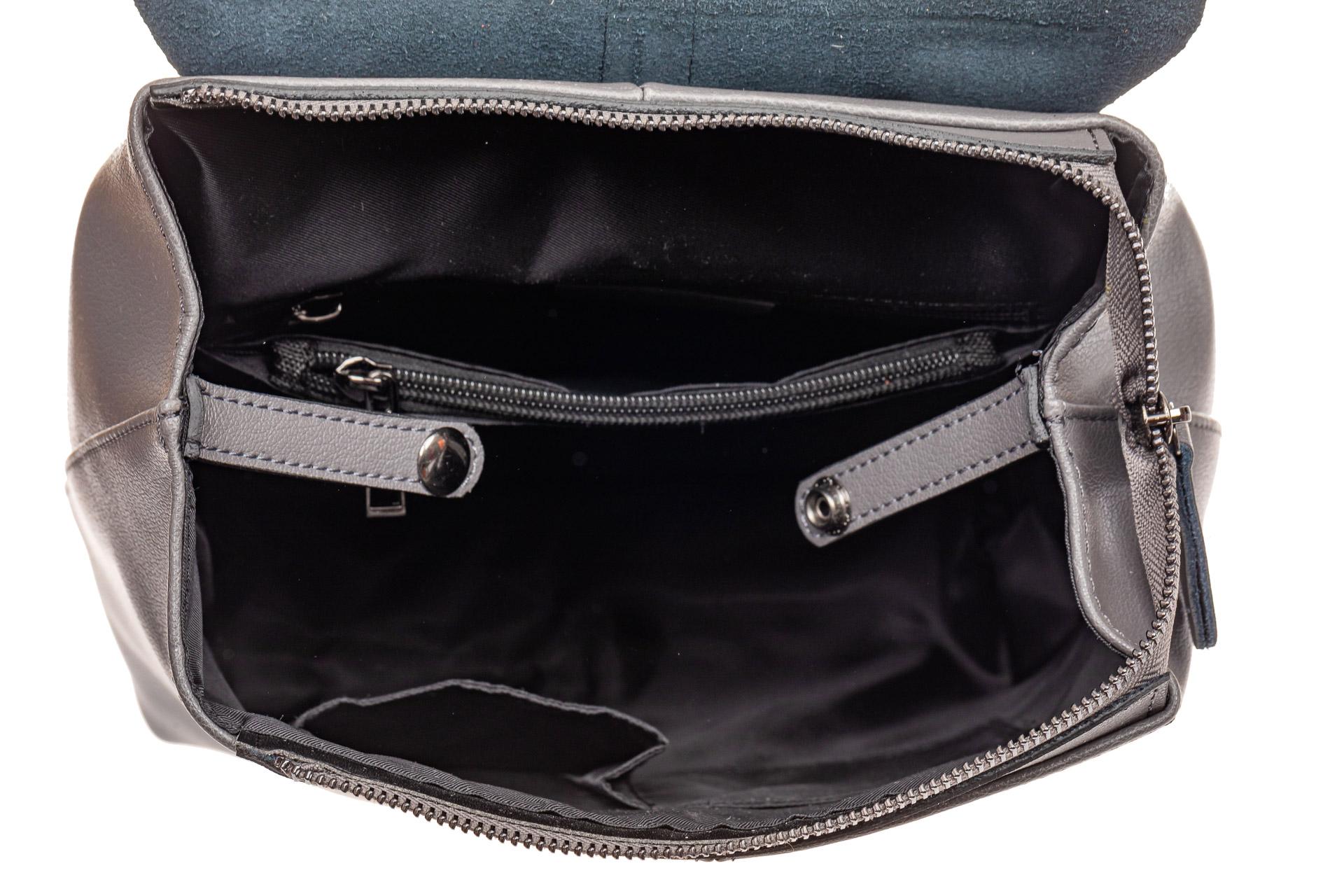 На фото 4 - Женский рюкзак трансформер из натуральной кожи, цвет черный