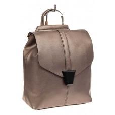 На фото 1 - Женский рюкзак трансформер из натуральной кожи, цвет бежевый