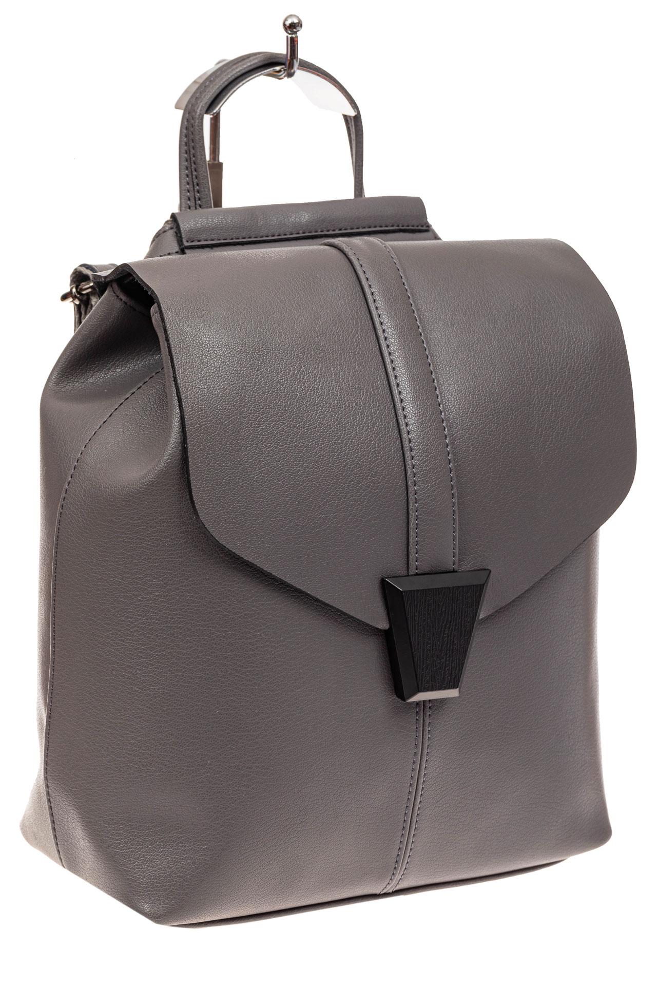 На фото 1 - Женский рюкзак трансформер из натуральной кожи, цвет серый