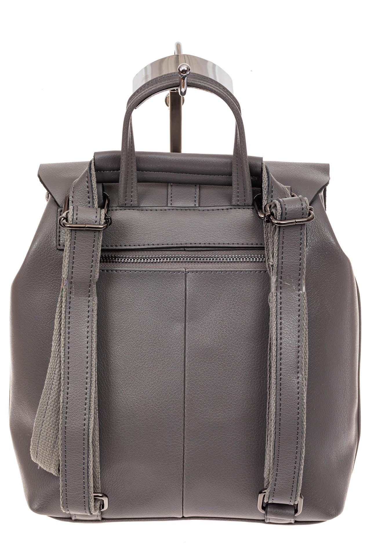 На фото 3 - Женский рюкзак трансформер из натуральной кожи, цвет серый