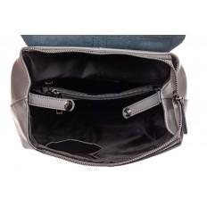 На фото 4 - Женский рюкзак трансформер из натуральной кожи, цвет серый