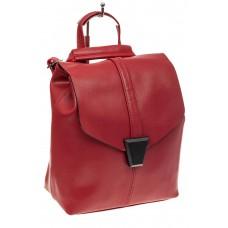 На фото 1 - Женский рюкзак трансформер из натуральной кожи, цвет красный