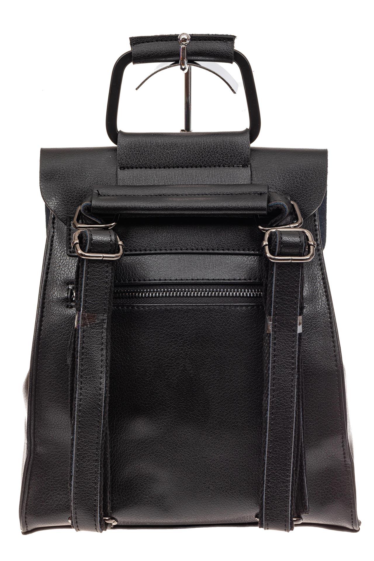 На фото 3 - Женский рюкзак трансформер из натуральной кожи, цвет черный