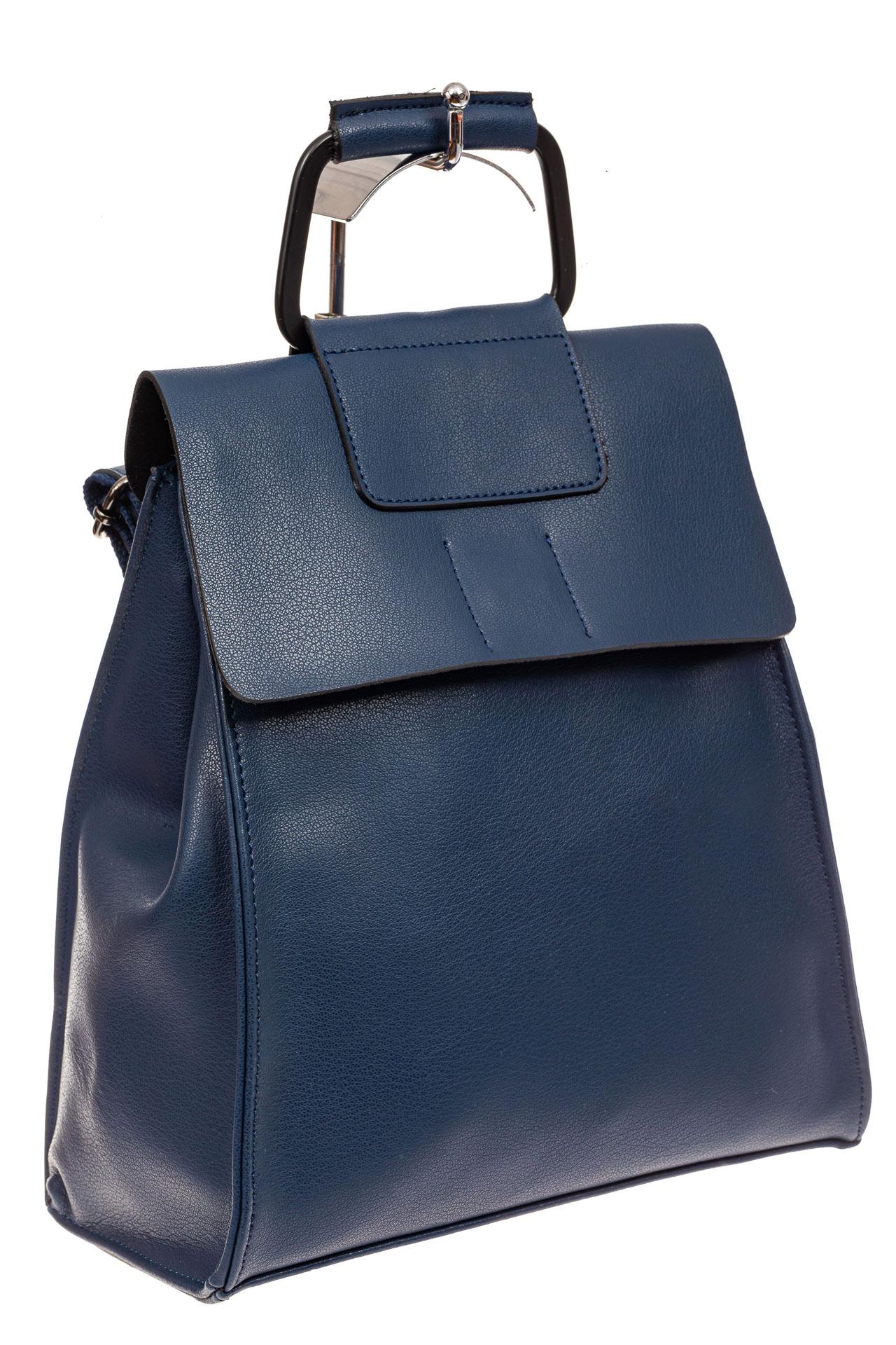 На фото 1 - Женский рюкзак трансформер из натуральной кожи, цвет синий