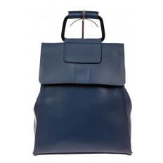 На фото 2 - Женский рюкзак трансформер из натуральной кожи, цвет синий