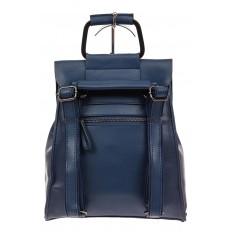 На фото 3 - Женский рюкзак трансформер из натуральной кожи, цвет синий