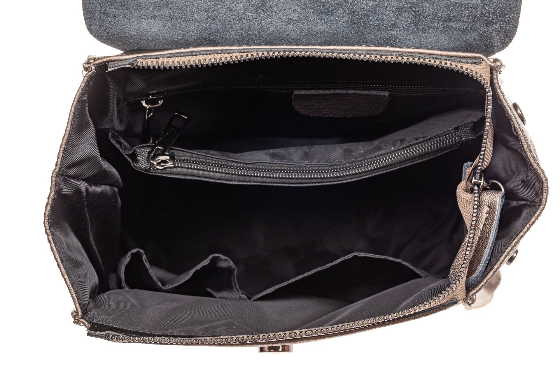 На фото 4 - Женский рюкзак трансформер из натуральной кожи, цвет синий