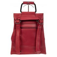 На фото 3 - Женский рюкзак трансформер из натуральной кожи, цвет красный