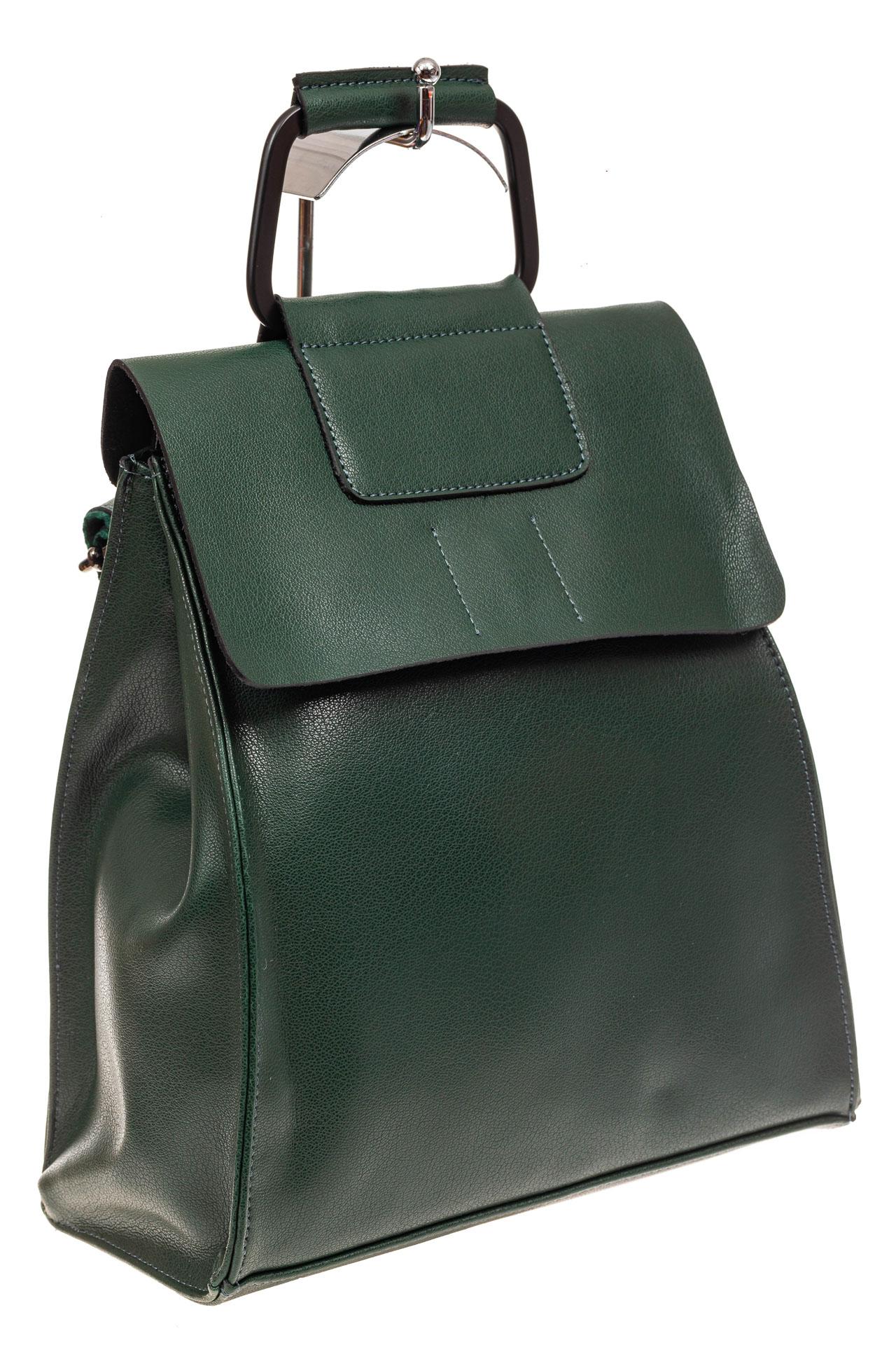 На фото 1 - Женский рюкзак трансформер из натуральной кожи, цвет зеленый