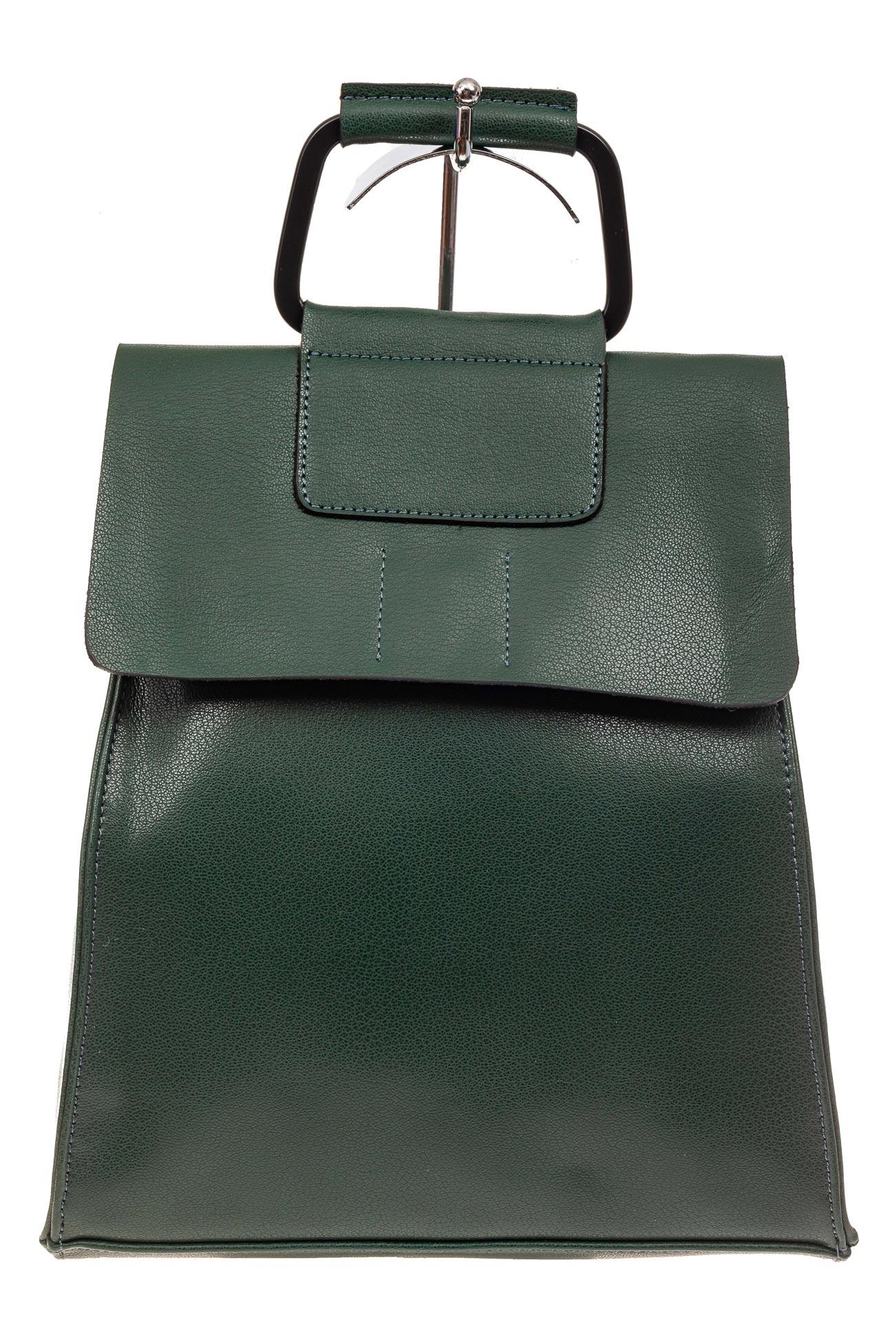 На фото 2 - Женский рюкзак трансформер из натуральной кожи, цвет зеленый