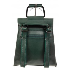 На фото 3 - Женский рюкзак трансформер из натуральной кожи, цвет зеленый
