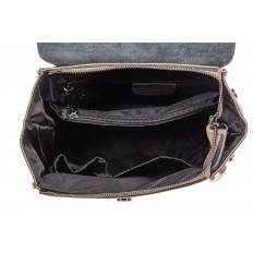 На фото 4 - Женский рюкзак трансформер из натуральной кожи, цвет зеленый