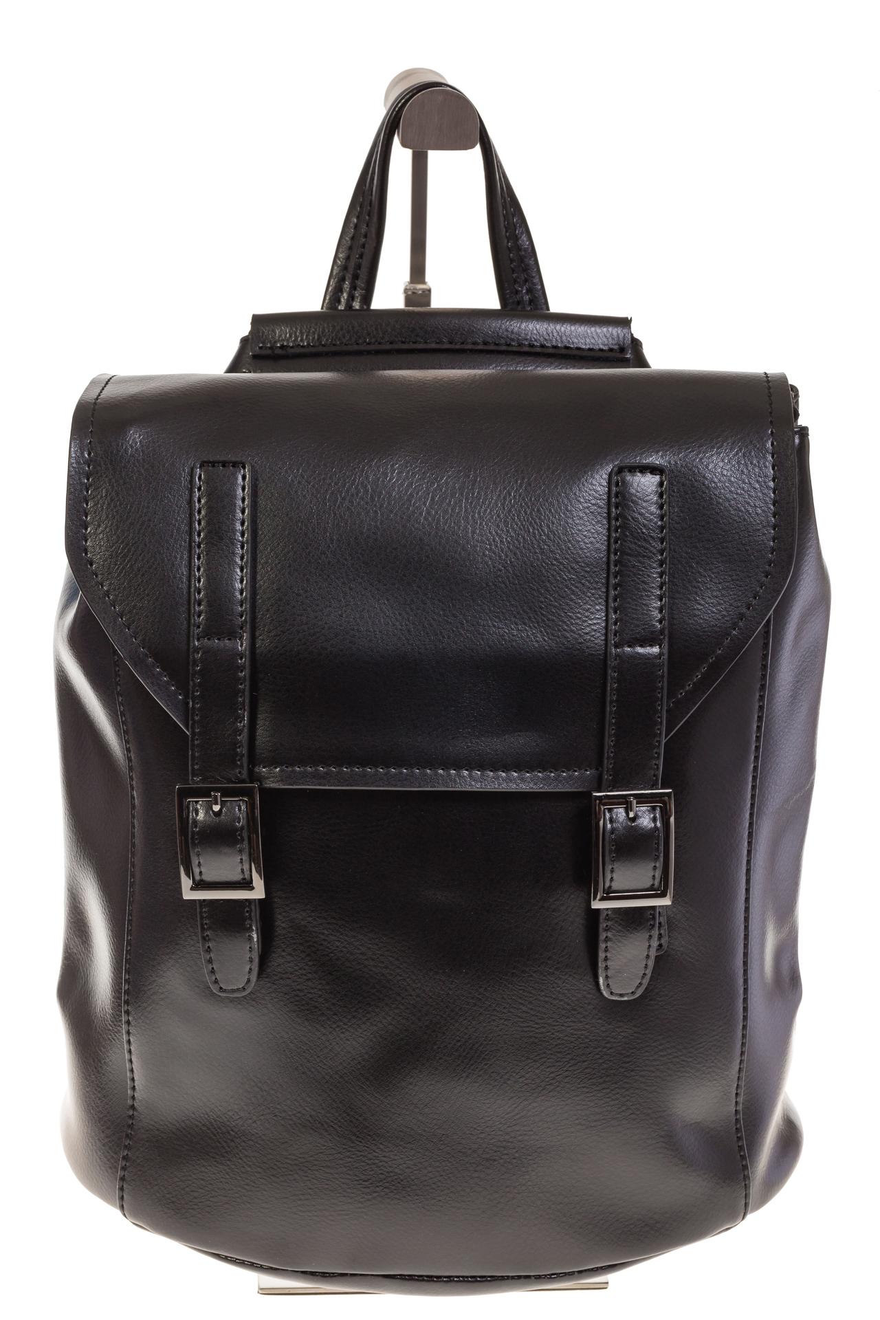На фото 2 - Женский рюкзак – трансформер из натуральной кожи черного цвета 3005