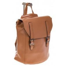 На фото 1 - Женский рюкзак – трансформер из натуральной кожи цвета кофе с молоком 3005